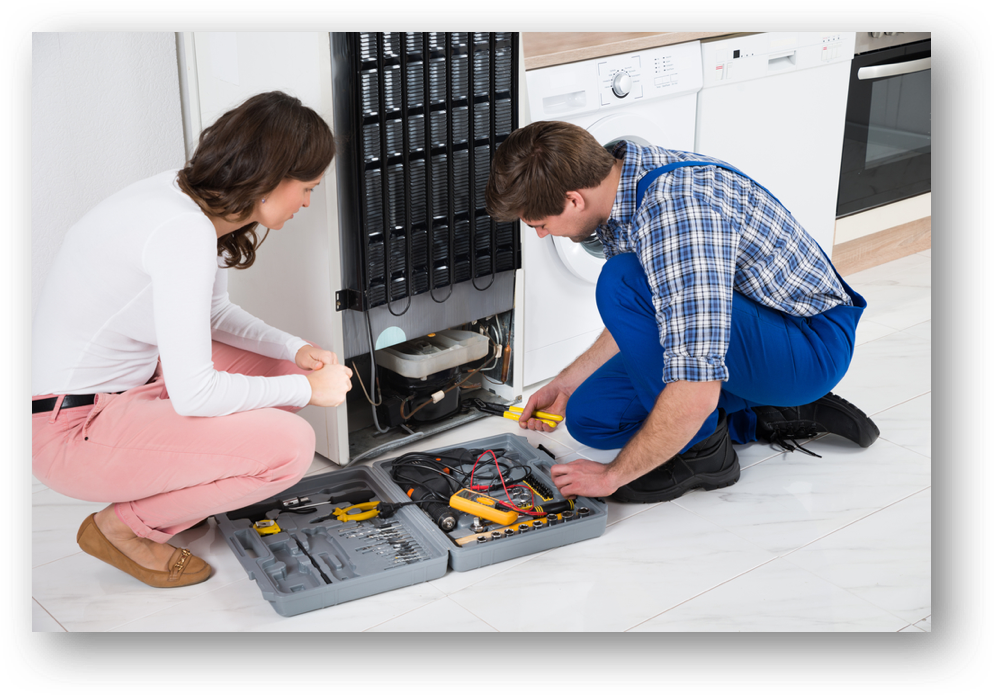 Fridge-Repair-with-Woman
